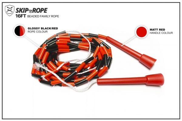 SKIPnROPE 16FT Beaded Family Rope Red Black