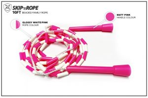 SKIPnROPE 16FT Beaded Family Rope White Pink